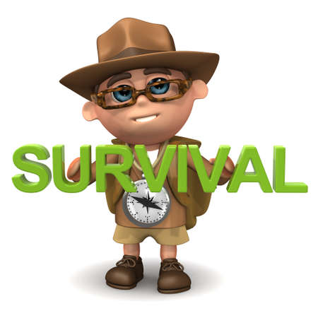 survival: 3d render of a hiker holding the word Survival