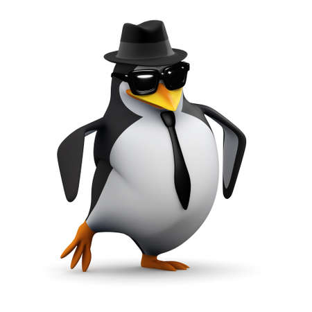 cartoon penguin: 3d render of a penguin dressed very smartly and engaging in a rather cool dance. Stock Photo