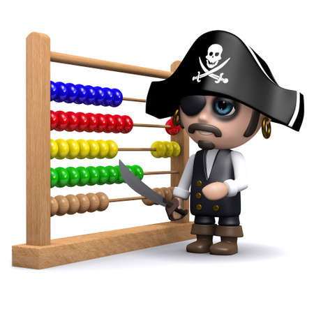 numeracy: 3d render of a pirate with an abacus.
