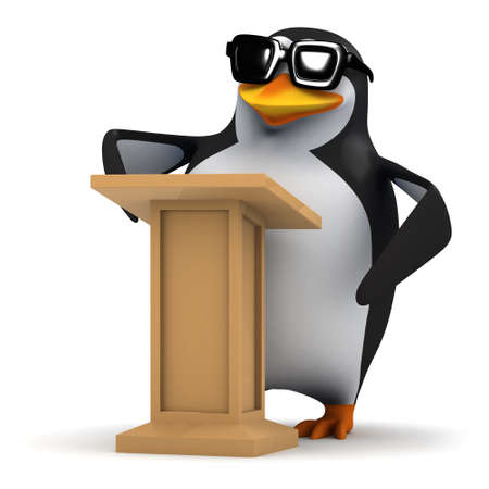 lectern: 3d render of a penguin stood at a lectern.