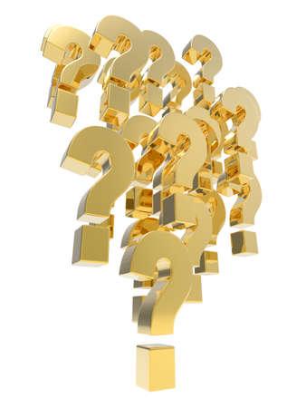 3d render of an array of golden question marks. photo