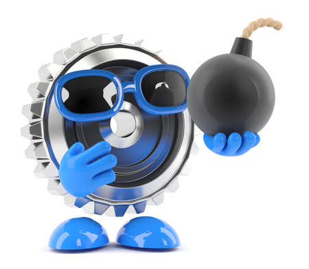 3d render of a metal cog character holding a bomb photo