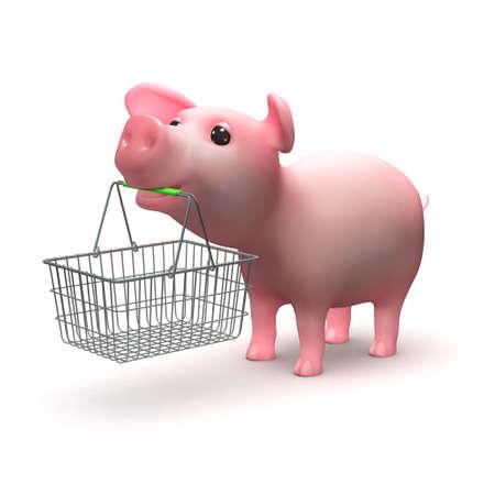 farmyard: 3d render of a little piglet holding a shopping basket