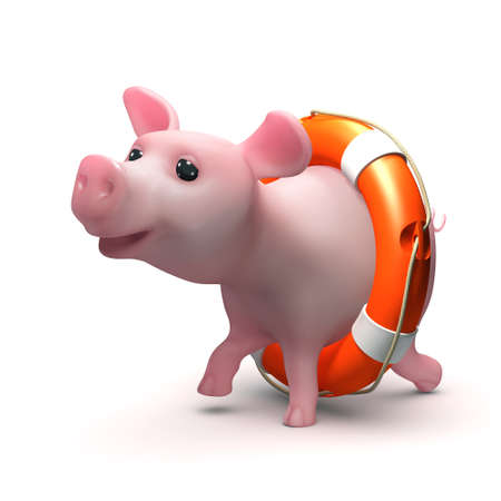 trotters: 3d render of a piglet in a life ring Stock Photo