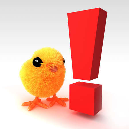 exclaim: 3d render of a cute Easter chick next to an exclamation mark