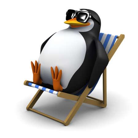 3d rendem de um pinguim sentado em uma cadeira de praia.