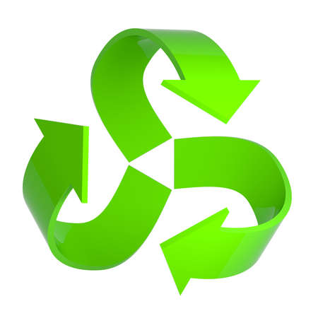 3d render of a green recycle arrows symbol photo