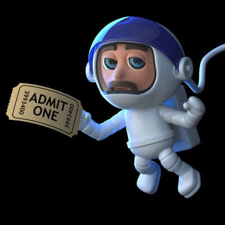 caida libre: 3d rinden de un astronauta flotando en el espacio que sostiene un boleto de cine.