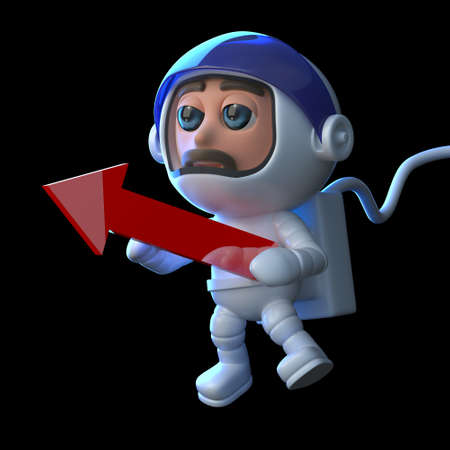 caida libre: 3d astronauta que sostiene una flecha roja Foto de archivo