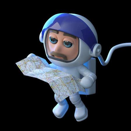 caida libre: 3d rinden de un astronauta flotando en el espacio que lee una carta.