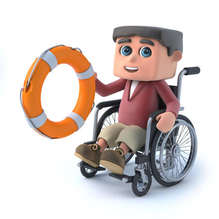 ring life: 3d render of a boy in a wheelchair holding a life ring.