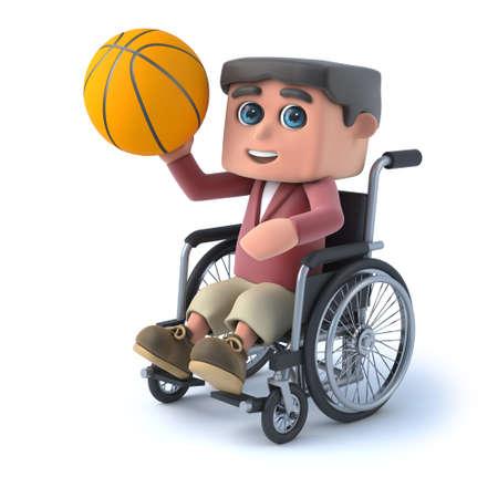 boy basketball: 3d render of a boy in a wheelchair holding a basketball.