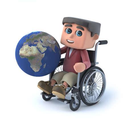paraplegico: 3d muchacho en silla de ruedas tiene globo de la Tierra