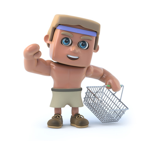 exercice: 3d render of a muscular bodybuilder holding an empty shopping baskets. Stock Photo