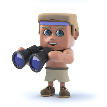 exercice: 3d render of a bodybuilder holding a pair of binoculars.