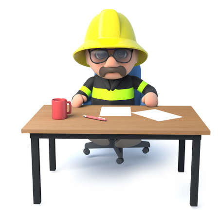 emergency services occupation: 3d render of a fireman sitting at his desk. Stock Photo