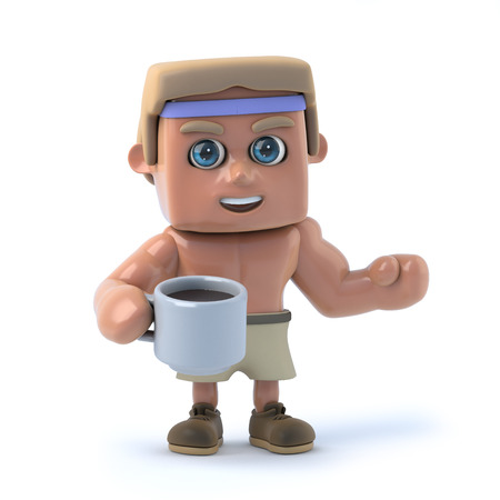 3d render of a bodybuilder drinking a cup of coffee Reklamní fotografie