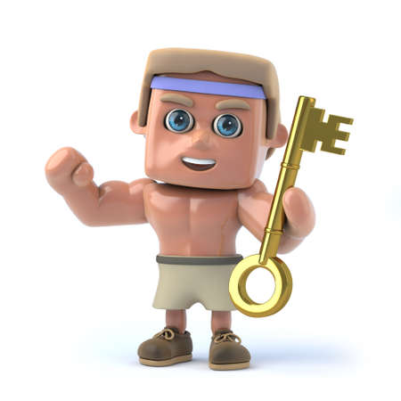 gold key: 3d Bodybuilder has the gold key of success Stock Photo
