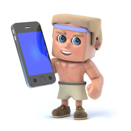 sexy muscular man: 3d render of a bodybuilder holding a smartphone.