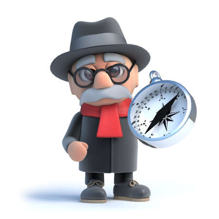 oap: 3d render of an old man holding a compass.