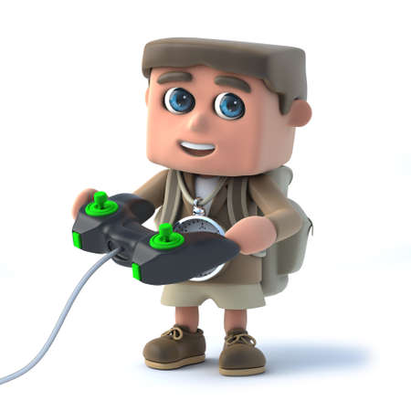 videogame: 3d render of a kid explorer playing a videogame. Stock Photo