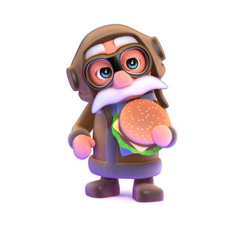 beefburger: 3d render of a pilot eating a beefburger.