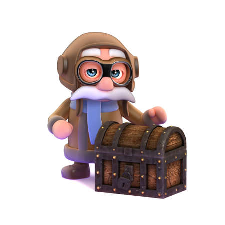 airforce: 3d render of a pilot nex to a treasure chest.