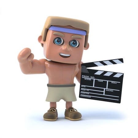 exercice: 3d render of a bodybuilder with a clapperboard.