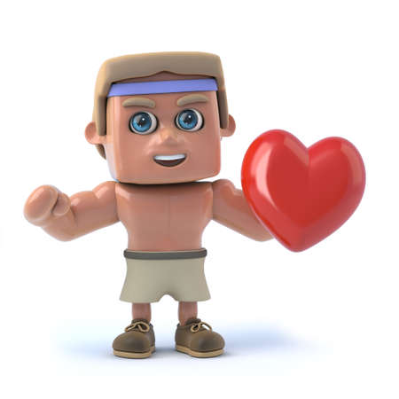 sexy muscular man: 3d render of a bodybuilder holding a red heart.