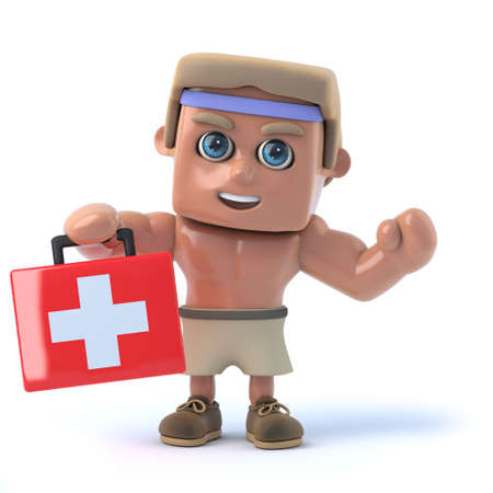 first aid kit: 3d render of a bodybuilder holding a first aid kit.