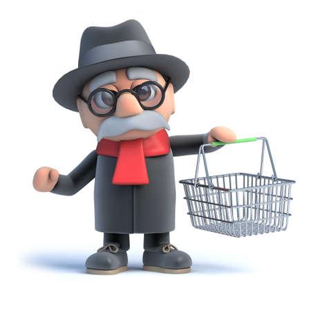 oap: 3d rendering of an old man carrying an empty shopping basket.