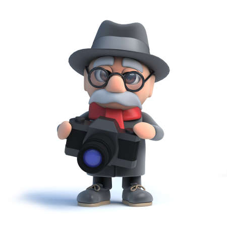 has: 3d Old man has a new camera Stock Photo