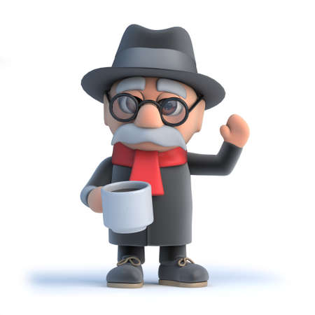 oap: 3d render of an old man drinking a cup of coffee.