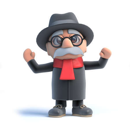 oap: 3d render of an old man cheering.