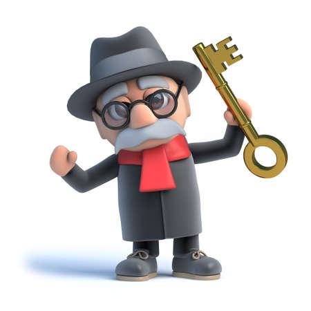 grandad: 3d Old man with a gold key