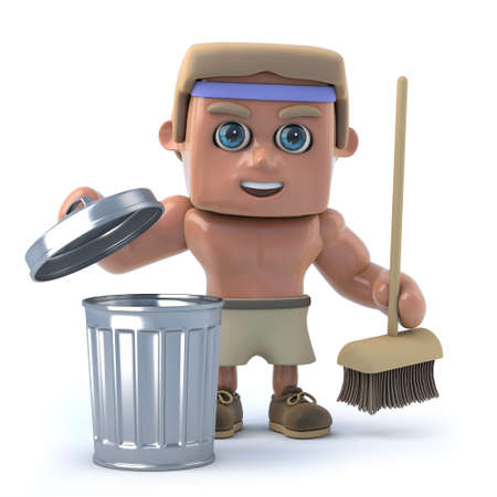 sexy muscular man: 3d render of a bodybuilder with a trash can and broom. Stock Photo