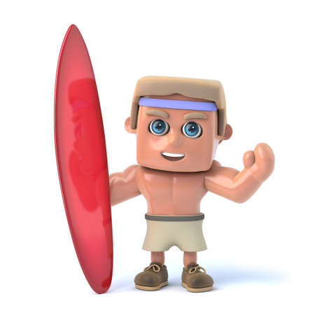 sexy muscular man: 3d render of a bodybuilder holding a surfboard.