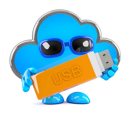 memory stick: 3d render of a cloud with a usb memory stick. Stock Photo
