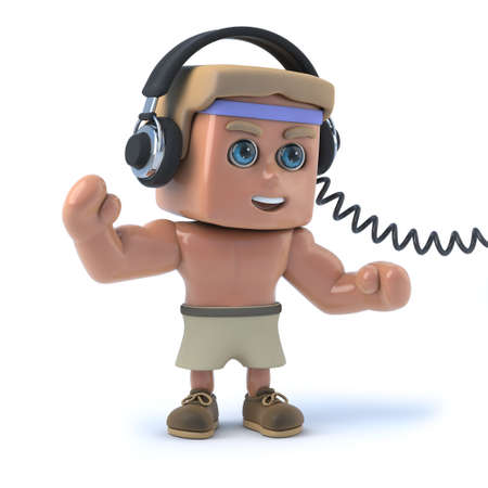 exercice: 3d Bodybuilder listens to his headphones Stock Photo