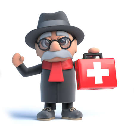 cartoon old man: 3d render of an old man holding a first aid kit.