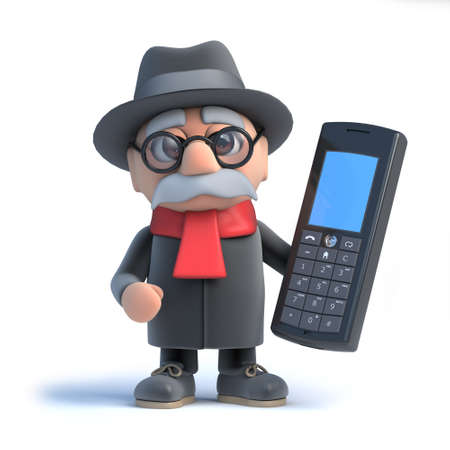 oap: 3d Old man has a calculator