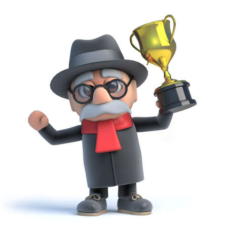 sad cartoon: 3d render of an old man holding a gold cup trophy with pride.