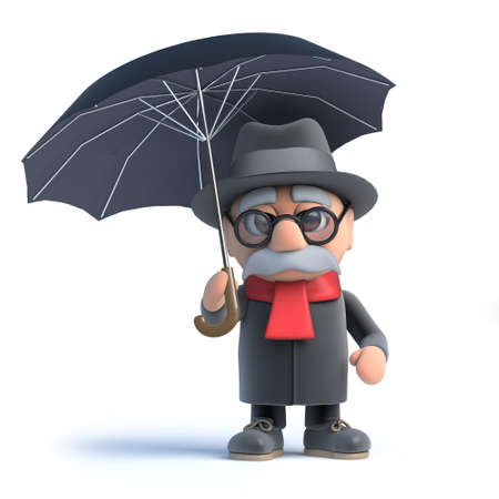 old people: 3d render of an old man under an umbrella.