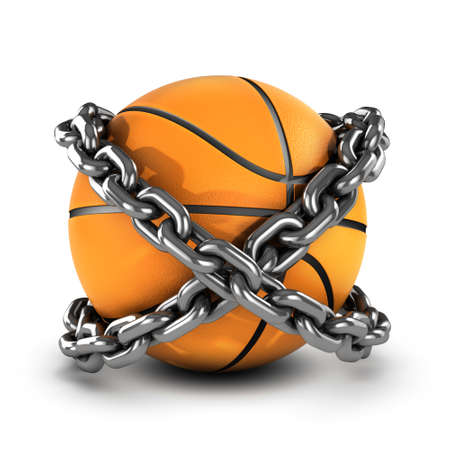 bounce: 3d render of a basketball wrapped in chain Stock Photo