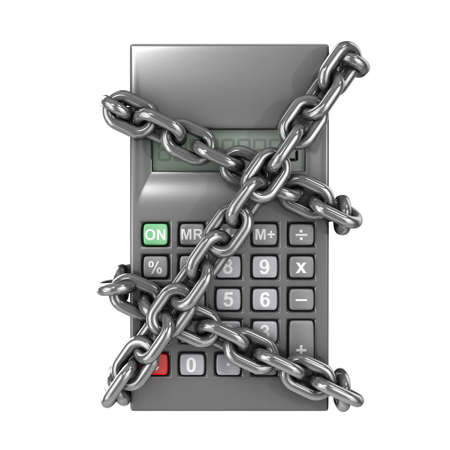 sums: 3d render of a chained pocket calculator