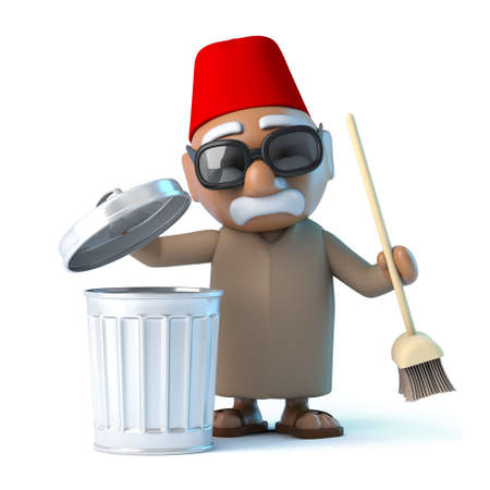 tidying up: 3d Moroccan is tidying up Stock Photo