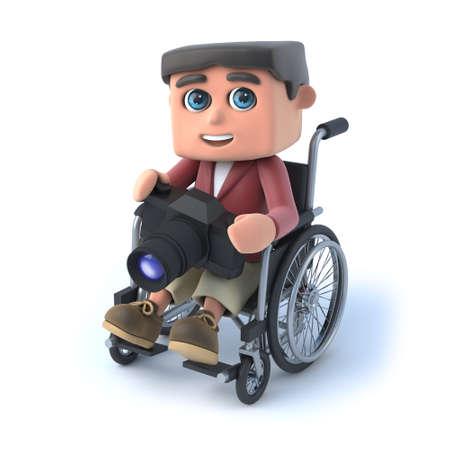 paraplegico: 3d rinden de un niño en una silla de ruedas la celebración de su nueva cámara Foto de archivo