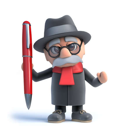 old people: 3d Old man has a red pen