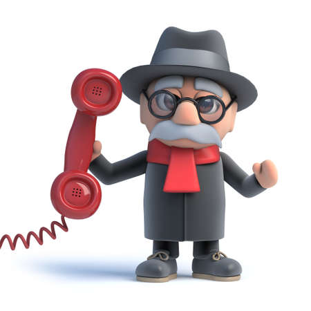 old frame: 3d render of an old man holding a telephone handset