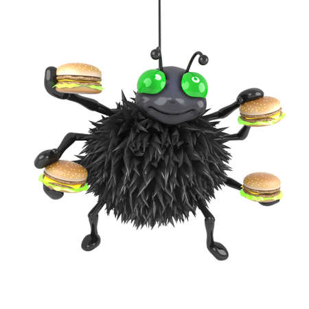 loves: 3d Spider loves burgers Stock Photo